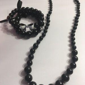 Black Beaded Necklace & Betsey Johnson Bracelet